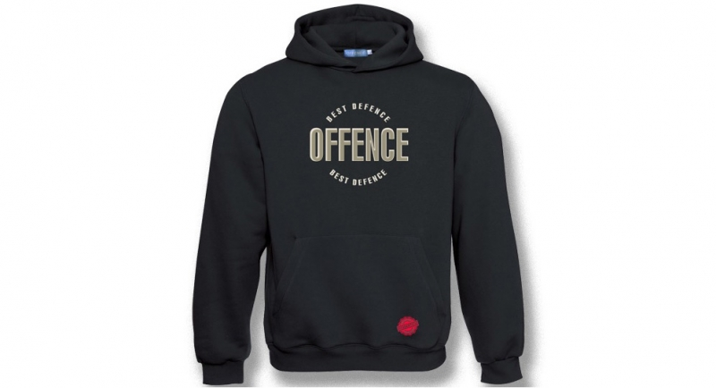 HOODY OFFENCE BEST DIFENCE CIRCULAR BLACK EMBROIDERED Offence best defence