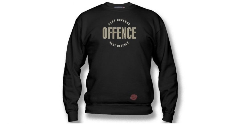 SWEATER OFFENCE BEST DEFENCE CIRCLE BLACK EMBROIDERED